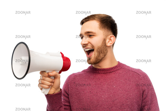smiling man with megaphone