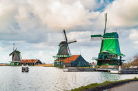 View of windmills in the typical dutch village