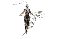 Abstract Flying female figure is wrapped up by branches of magic plant on white background. Halloween 3d illustration