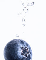 One Organic Blueberry sinking into water with air bubbles white background. Macro detailed closeup.