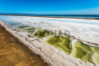 Salt works at Walvis Bay, Namibia, Africa