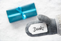 Gray Glove, Turquoise Gift, Label, Snow, Danke Means Thank You