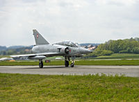 fighter jet Mirage III after landing on the airstrip, Swiss Air Force, military airfield Payerne
