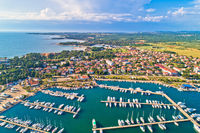 Umag. Aerial view of sailing marina and beautiful coastlne in Umag