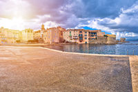 Saint Tropez. Scenic Saint Tropez waterfront sun haze view