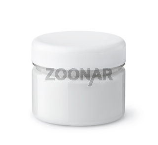 Glass jar of cosmetic cream