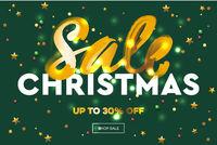 Christmas Sale web banner. E-commerce, online shop, web site landing page mockup, vector Illustration.
