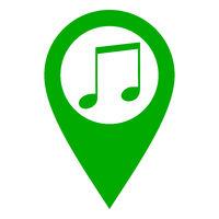 Note und Kartenmarkierung - Music note and location pin