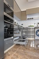 Luxury modern white, beige and grey kitchen interior