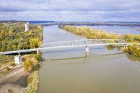 Brownville bridge over flooded Missouri River