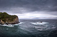Coastal landscape in Sao Miguel during stormy weather