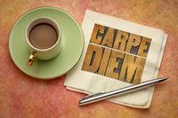 Carpe Diem word abstract in wood type