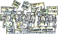 Young Students Protesting on Climate Change Watercolor