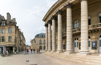 view of the Grand Theater and the Rue Rameau Street in the historic old city center of Dijon in Burg