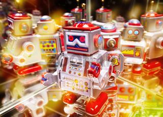 Roboter mit Spiegelungen und Bokeh