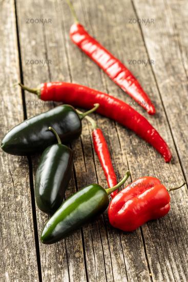 Jalapeno, habenero and chili peppers.