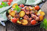 Fried potatoes with pork neck
