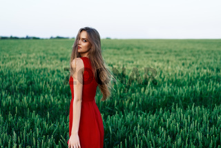 Beautiful young woman in red dress posing outdoors in green summer field