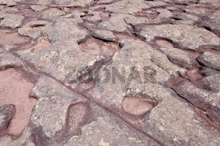 Stone rock formation on top of Morro Do Pai Inacio mountain, Chapada Diamantina National Park, Lencois, Bahia, Brazil