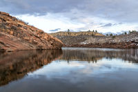 moutain lake in winter scenery at Colorado foothills