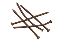five old rusty and crooked nails isolated