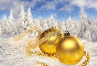 Weihnachtsdekoration und Landschaft