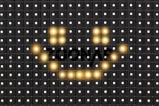 Dots matrix led diplay panel with illuminated symbol of smile face