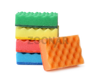 Stack of colorful plasdtic dishwashing sponges