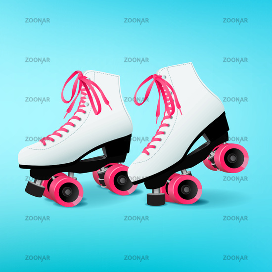 Pair of white roller skates with pink shoelaces on blue background