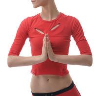 Yoga. Portrait of girl holding hands in namaste