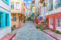 Colorful houses in Istanbul street, Fener area