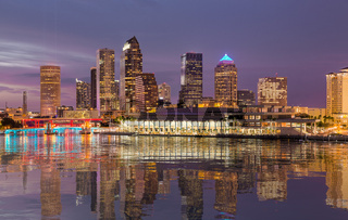 City skyline of Tampa Florida at sunset