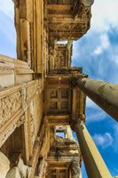 Bottom up view of the facade of Celsus Library