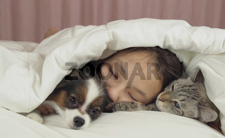 Beautiful teen girl sleeping sweetly in bed with dog and cat