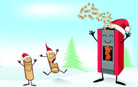 christmas stove cartoon with  fun Wood pellett mascot