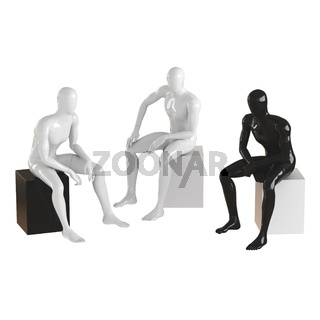 Faceless guys mannequins are sitting on a black and white box. Isolated on white background 3D rendering
