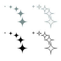 Stars on track five items icon outline set grey black color