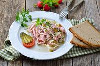 Bavarian sausage salad with cheese