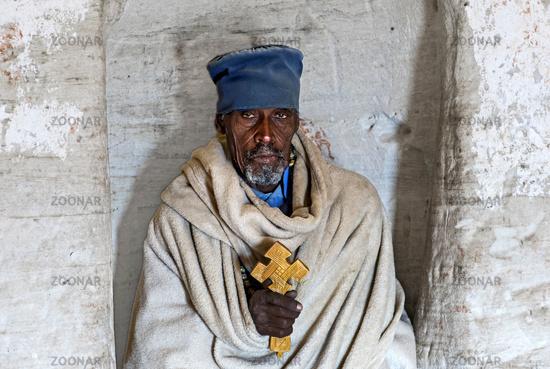 Orthodox Priest of the rock-hewn church Daniel Korkor, Gheralta mountains, Tigray, Ethiopia