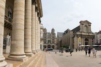 view of the Grand Theater and Saint Michel Church in the historic old city center of Dijon in Burgun
