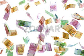 Money rain of Euro banknotes isolated on white background.