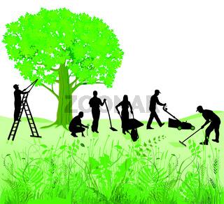 Gartenarbeit auf Wiese.eps