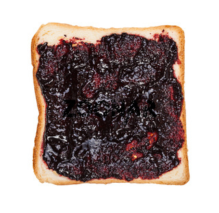 open sandwich with toast and and blueberry jam
