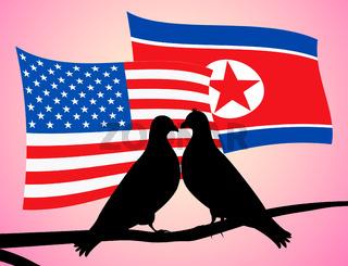 Usa North Korean Peace Doves Flags 3d Illustration