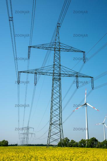 Power supply lines in a field of blooming oilseed rape seen in rural Germany