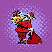Santa Claus drinking beer. Christmas and New year