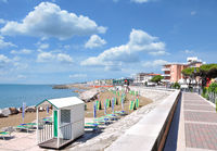 Promenade of Caorle at adriatic Sea,veneto,Italy