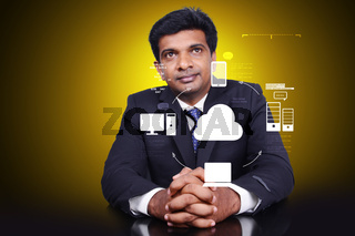 Business man thinking concept of cloud computing.