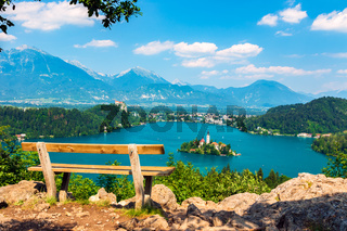 Lake Bled in summer, view from above, Slovenia.
