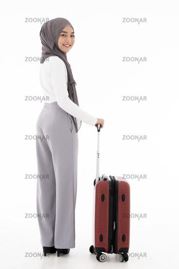 Muslim girl luggage